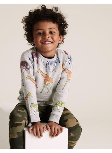 Marks & Spencer Organik Pamuklu Desenli Sweatshirt Gri